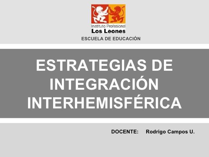ESTRATEGIAS DE INTEGRACIÓN INTERHEMISFÉRICA ESCUELA DE EDUCACIÓN DOCENTE:  Rodrigo Campos U.