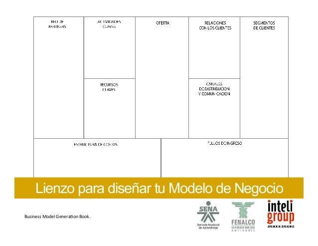 Lienzo para diseñar tu Modelo de Negocio  Business  Model  GeneraSon  Book.