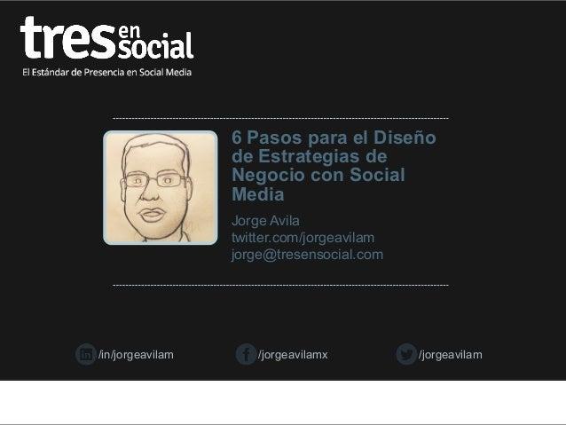 6 Pasos para el Diseño de Estrategias de Negocio con Social Media Jorge Avila twitter.com/jorgeavilam jorge@tresensocial.c...