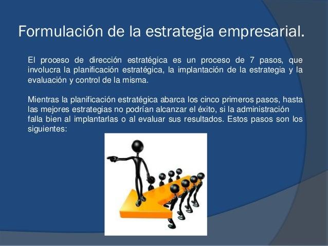 Formulación de la estrategia empresarial. El proceso de dirección estratégica es un proceso de 7 pasos, que involucra la p...