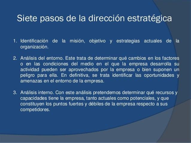 Siete pasos de la dirección estratégica 1. Identificación de la misión, objetivo y estrategias actuales de la organización...