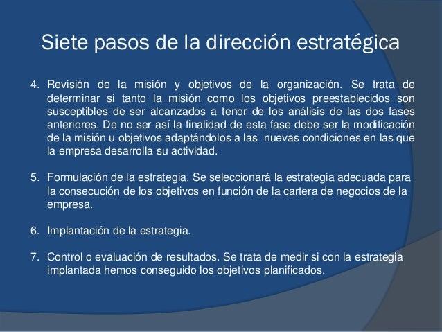 Siete pasos de la dirección estratégica 4. Revisión de la misión y objetivos de la organización. Se trata de determinar si...