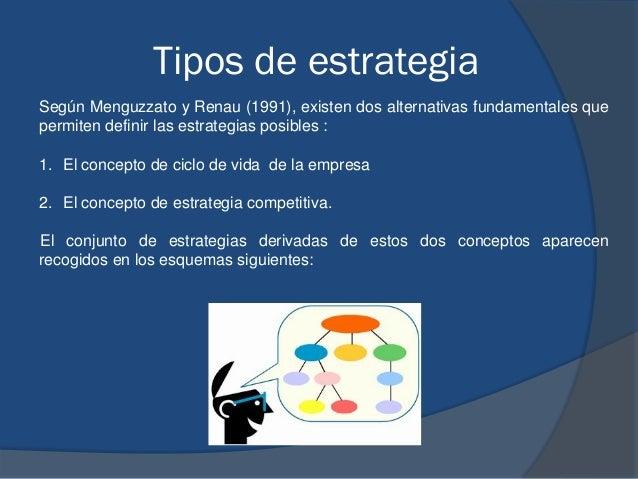 Tipos de estrategia Según Menguzzato y Renau (1991), existen dos alternativas fundamentales que permiten definir las estra...