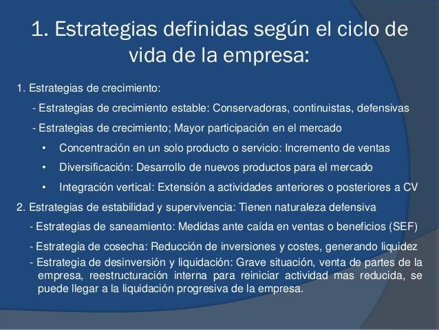 1. Estrategias definidas según el ciclo de vida de la empresa: 1. Estrategias de crecimiento: - Estrategias de crecimiento...