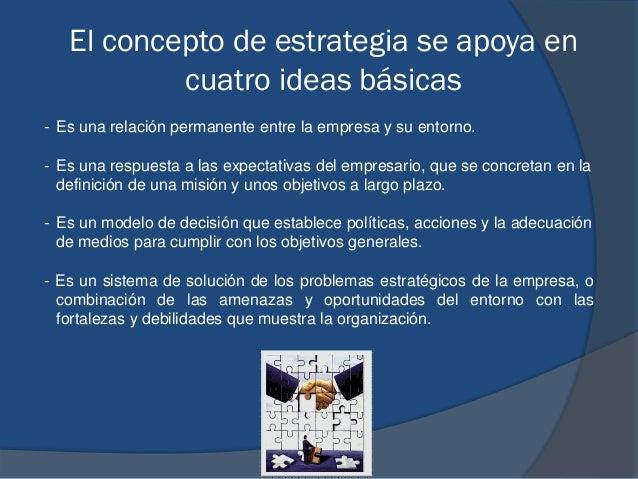 El concepto de estrategia se apoya en cuatro ideas básicas - Es una relación permanente entre la empresa y su entorno. - E...