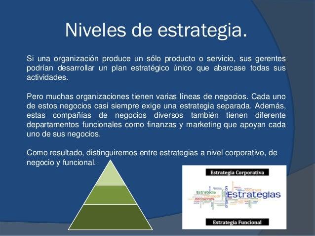 Niveles de estrategia. Si una organización produce un sólo producto o servicio, sus gerentes podrían desarrollar un plan e...