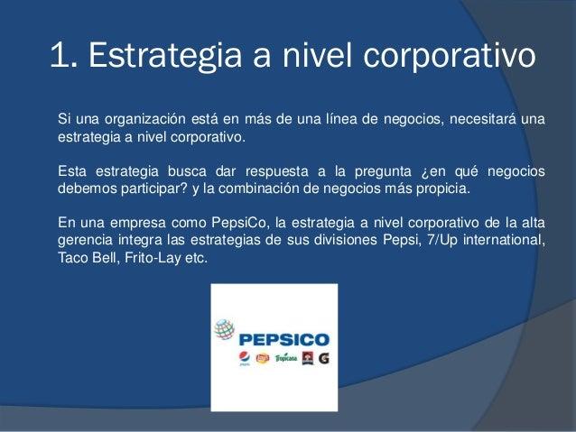1. Estrategia a nivel corporativo Si una organización está en más de una línea de negocios, necesitará una estrategia a ni...