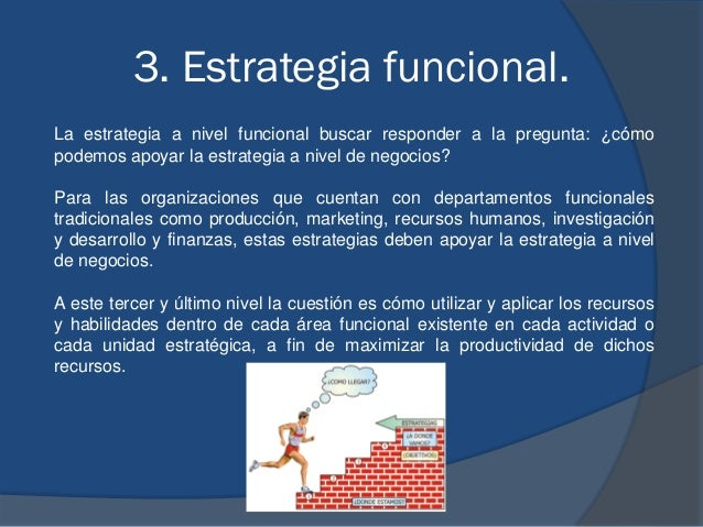 3. Estrategia funcional. La estrategia a nivel funcional buscar responder a la pregunta: ¿cómo podemos apoyar la estrategi...
