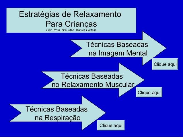 Estratégias de Relaxamento Para Crianças Por: Profa. Dra. Msc. Mônica Portella Técnicas Baseadas na Imagem Mental Técnicas...
