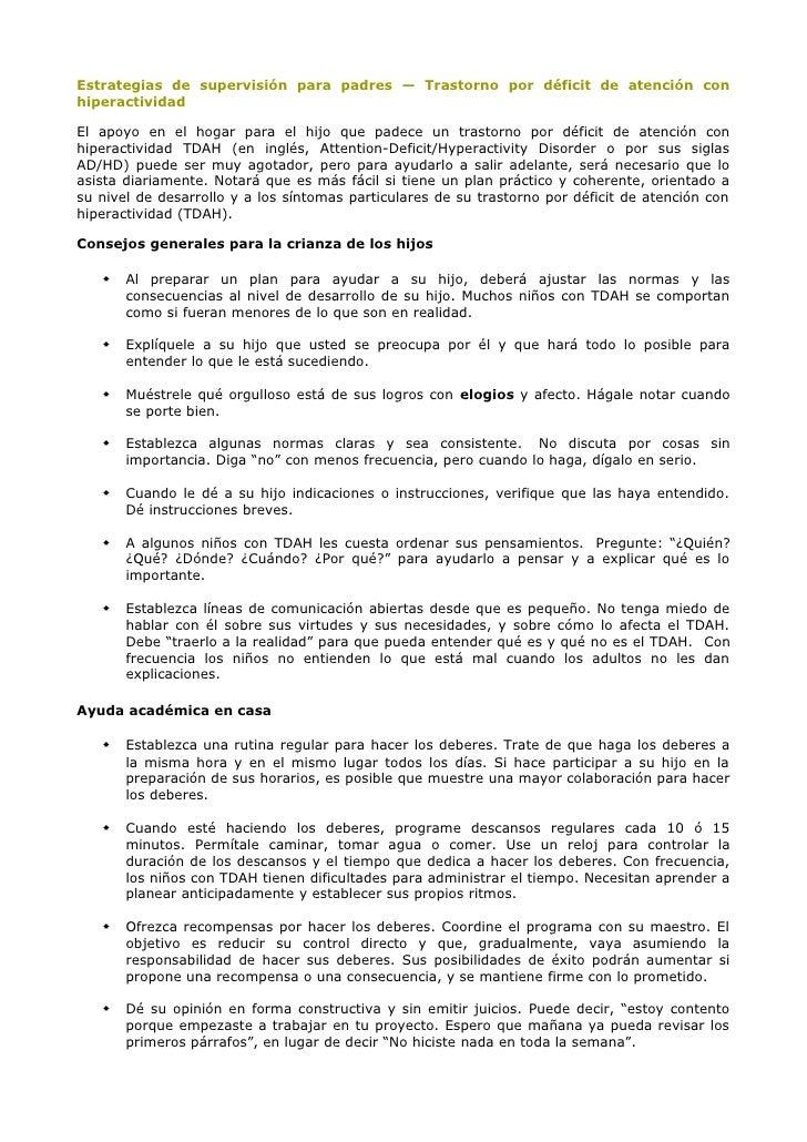 Estrategias de supervisión para padres — Trastorno por déficit de atención conhiperactividadEl apoyo en el hogar para el h...