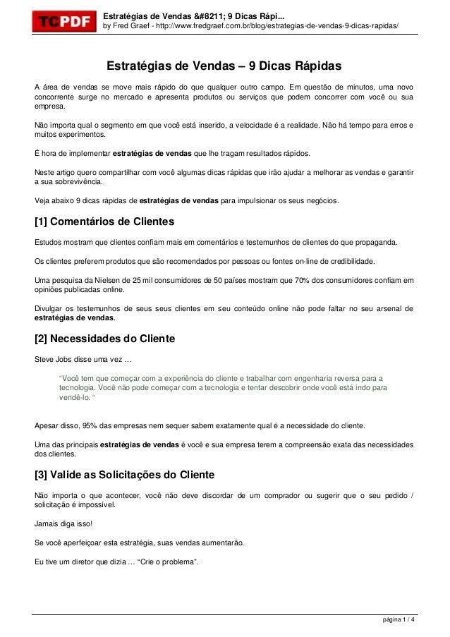 Estratégias de Vendas – 9 Dicas Rápi... by Fred Graef - http://www.fredgraef.com.br/blog/estrategias-de-vendas-9-dicas-rap...