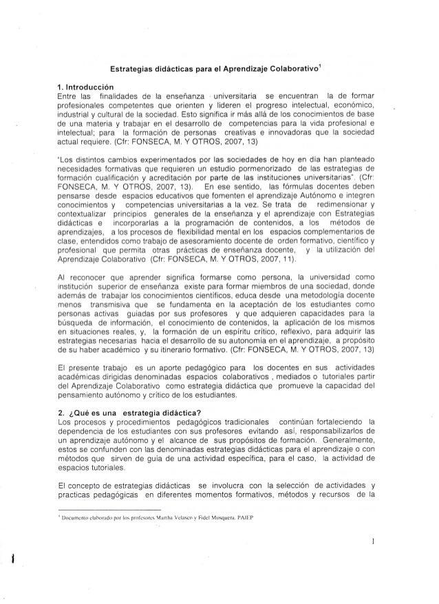 Estrategias didácticas para el Aprendizaje Colaborativo1  1. Introducción  Entre las finalidades de la enseñanza universit...