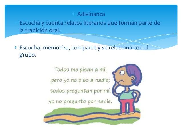  Adivinanza  Escucha y cuenta relatos literarios que forman parte de la tradición oral.  Escucha, memoriza, comparte y ...