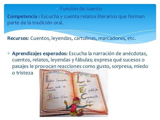  Función de cuento Competencia : Escucha y cuenta relatos literarios que forman parte de la tradición oral. Recursos: Cue...