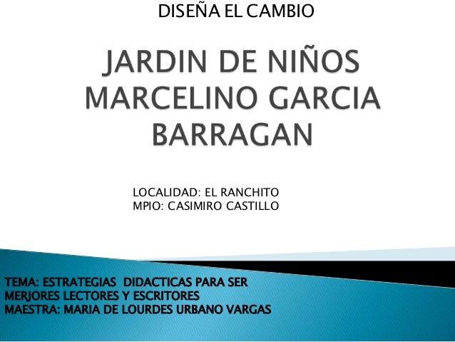 DISEÑA EL CAMBIO                  LOCALIDAD: EL RANCHITO                  MPIO: CASIMIRO CASTILLOTEMA: ESTRATEGIAS DIDACTI...