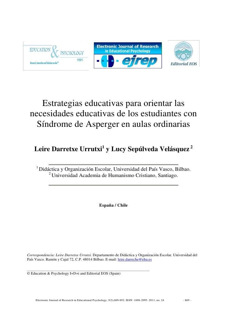 Estrategias educativas para orientar las necesidades educativas de los estudiantes con   Síndrome de Asperger en aulas ord...