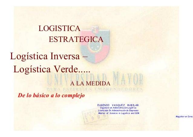 LOGISTICA  ESTRATEGICA  Logística Inversa –  Logística Verde.....  A LA MEDIDA  De lo básico a lo complejo  EUGENIO VASQUE...