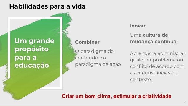 Combinar O paradigma do conteúdo e o paradigma da ação Um grande propósito para a educação Inovar Uma cultura de mudança c...