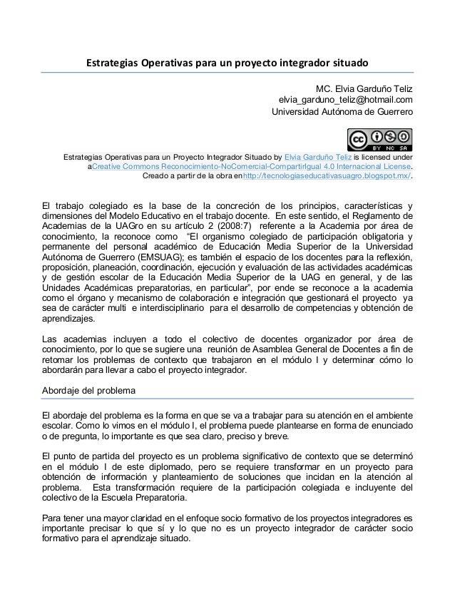Estrategias  Operativas  para  un  proyecto  integrador  situado   MC. Elvia Garduño Teliz elvia_garduno_t...