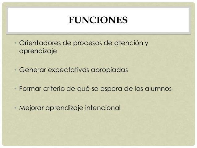 FUNCIONES • Orientadores de procesos de atención y aprendizaje • Generar expectativas apropiadas • Formar criterio de qué ...