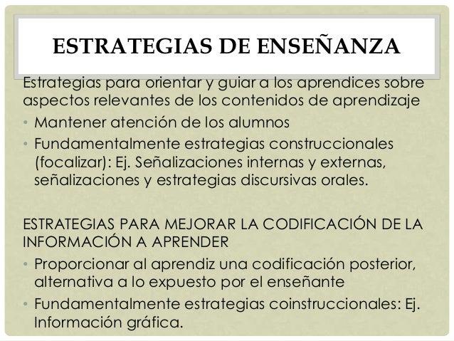 ESTRATEGIAS DE ENSEÑANZA Estrategias para orientar y guiar a los aprendices sobre aspectos relevantes de los contenidos de...