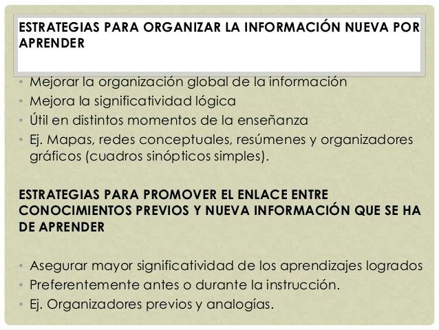ESTRATEGIAS PARA ORGANIZAR LA INFORMACIÓN NUEVA POR APRENDER • Mejorar la organización global de la información • Mejora l...