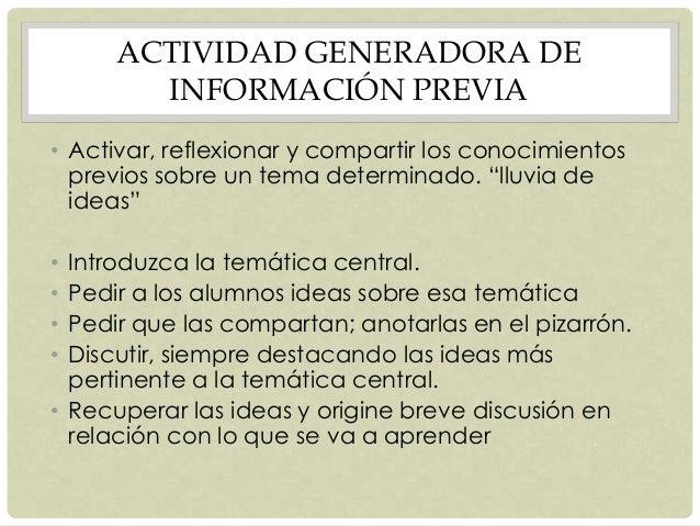 ACTIVIDAD GENERADORA DE INFORMACIÓN PREVIA • Activar, reflexionar y compartir los conocimientos previos sobre un tema dete...