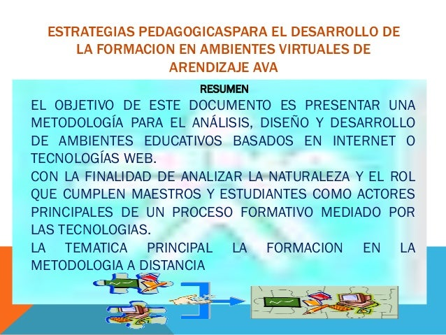 ESTRATEGIAS PEDAGOGICASPARA EL DESARROLLO DE LA FORMACION EN AMBIENTES VIRTUALES DE ARENDIZAJE AVA RESUMEN  EL OBJETIVO DE...
