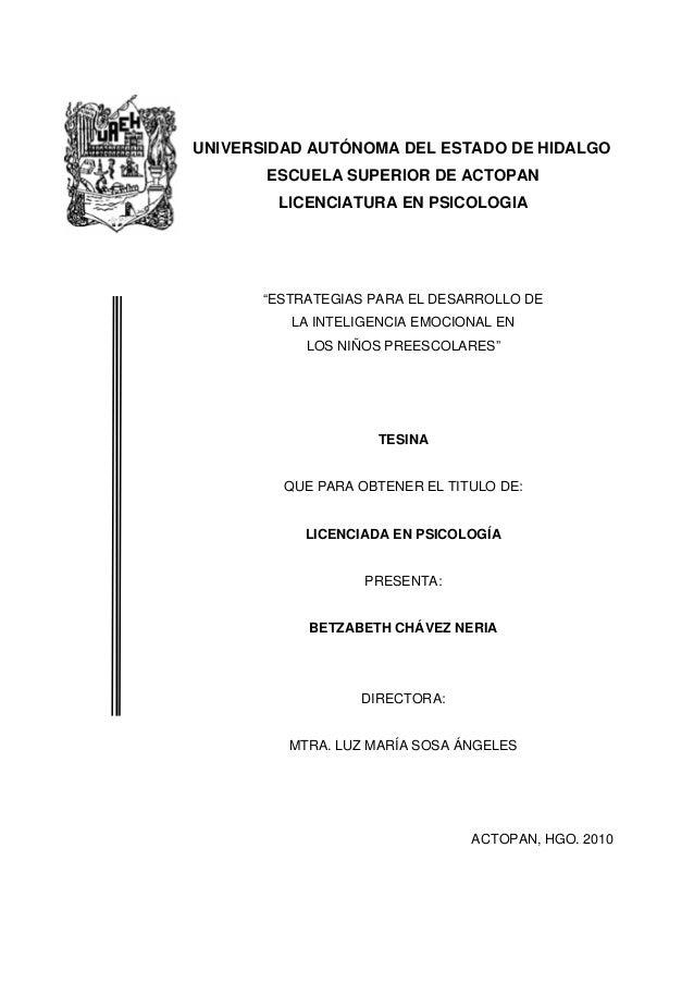 """UNIVERSIDAD AUTÓNOMA DEL ESTADO DE HIDALGO ESCUELA SUPERIOR DE ACTOPAN LICENCIATURA EN PSICOLOGIA """"ESTRATEGIAS PARA EL DES..."""
