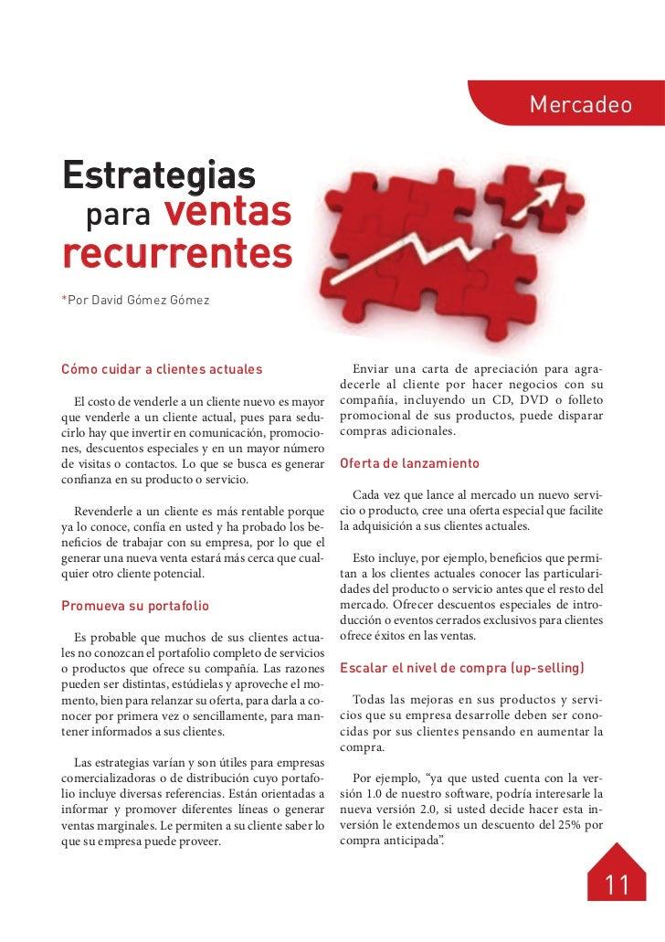 MercadeoEstrategias     ventas    pararecurrentes*Por David Gómez GómezCómo cuidar a clientes actuales                    ...