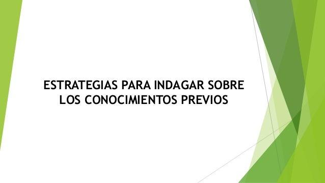 ESTRATEGIAS PARA INDAGAR SOBRE LOS CONOCIMIENTOS PREVIOS