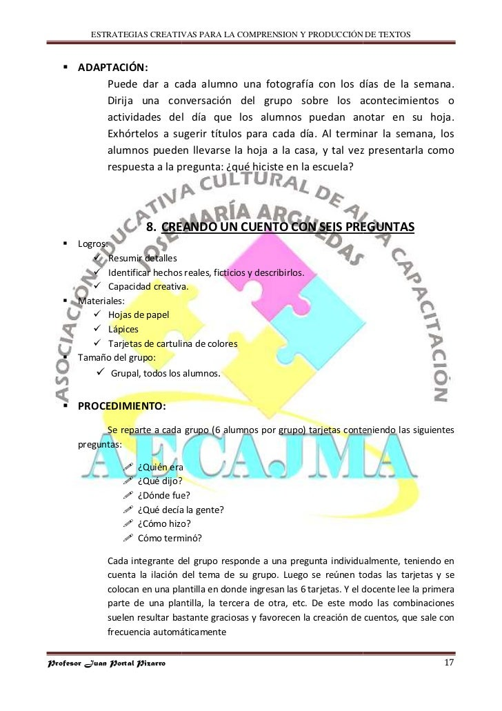 ESTRATEGIAS CREATIVAS PARA LA COMPRENSION Y PRODUCCIÓN DE TEXTOS          ADAPTACIÓN:            Puede dar a cada alumno u...