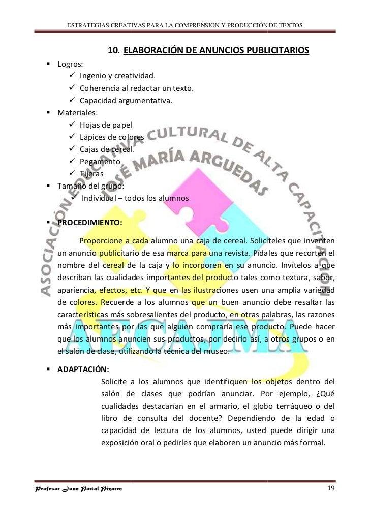 ESTRATEGIAS CREATIVAS PARA LA COMPRENSION Y PRODUCCIÓN DE TEXTOS                           10. ELABORACIÓN DE ANUNCIOS PUB...