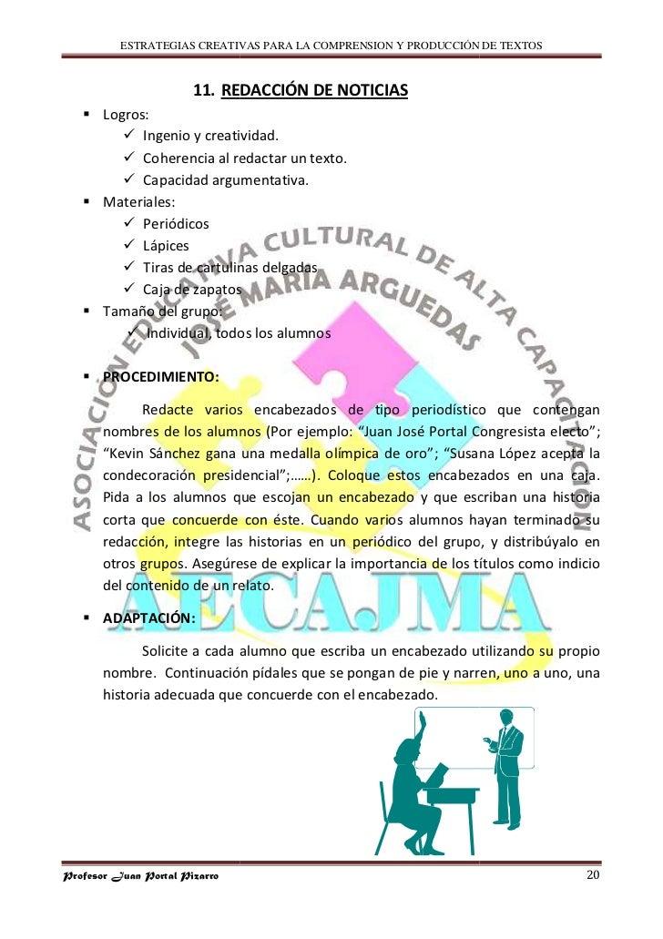 ESTRATEGIAS CREATIVAS PARA LA COMPRENSION Y PRODUCCIÓN DE TEXTOS                           11. REDACCIÓN DE NOTICIAS      ...