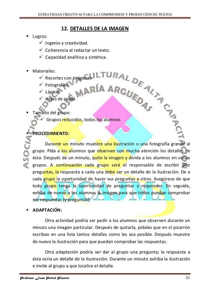 ESTRATEGIAS CREATIVAS PARA LA COMPRENSION Y PRODUCCIÓN DE TEXTOS                           12. DETALLES D LA IMAGEN       ...