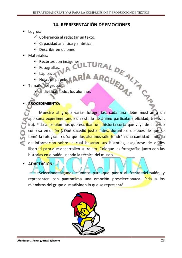 ESTRATEGIAS CREATIVAS PARA LA COMPRENSION Y PRODUCCIÓN DE TEXTOS                           14. REPRESENTACIÓN DE EMOCIONES...