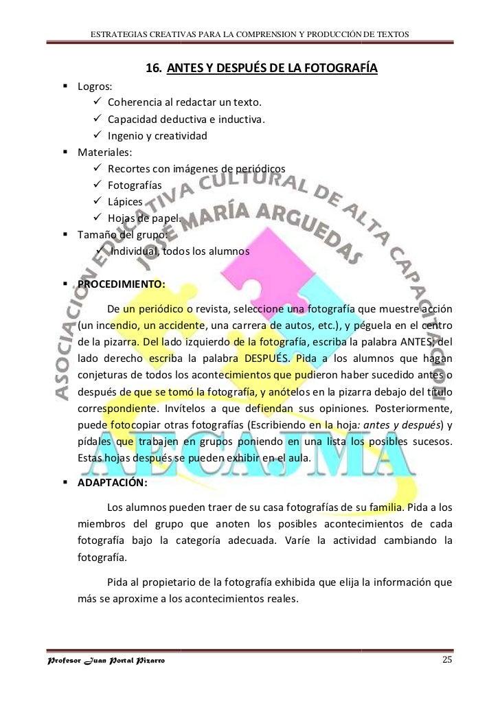 ESTRATEGIAS CREATIVAS PARA LA COMPRENSION Y PRODUCCIÓN DE TEXTOS                           16. ANTES Y DESPUÉS DE LA FOTOG...
