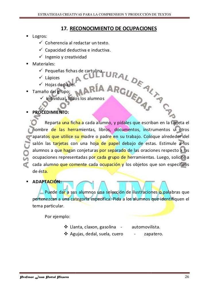 ESTRATEGIAS CREATIVAS PARA LA COMPRENSION Y PRODUCCIÓN DE TEXTOS                           17. RECONOCIMIENTO DE OCUPACION...