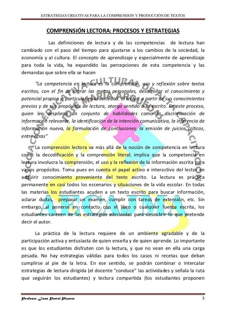 ESTRATEGIAS CREATIVAS PARA LA COMPRENSION Y PRODUCCIÓN DE TEXTOS                 COMPRENSIÓN LECTORA: PROCESOS Y ESTRATEGI...