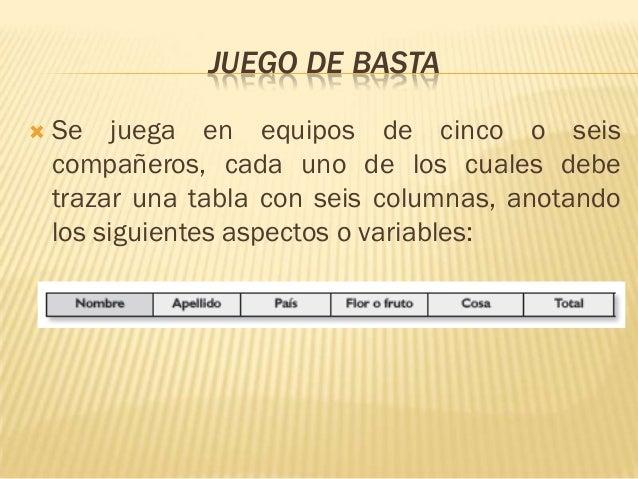JUEGO DE BASTA   Se juega en equipos de cinco o seis    compañeros, cada uno de los cuales debe    trazar una tabla con s...