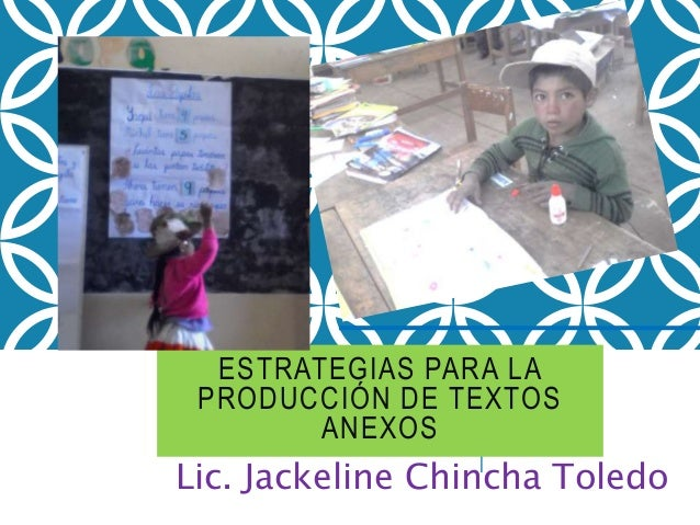 ESTRATEGIAS PARA LA PRODUCCIÓN DE TEXTOS ANEXOS Lic. Jackeline Chincha Toledo