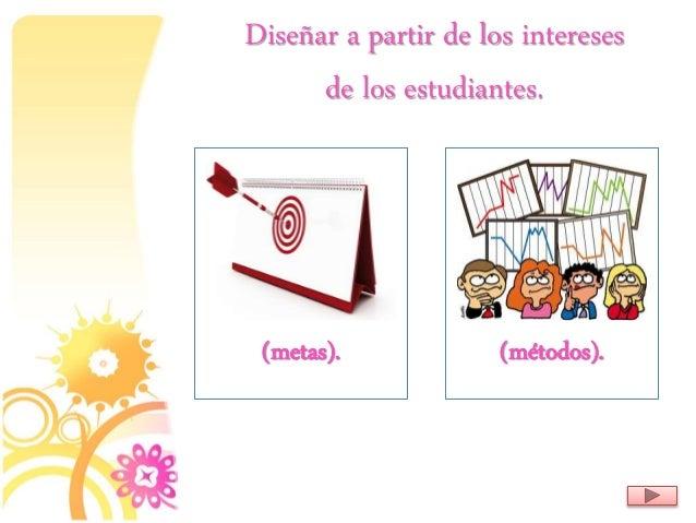 Diseñar a partir de los intereses de los estudiantes. (metas). (métodos).