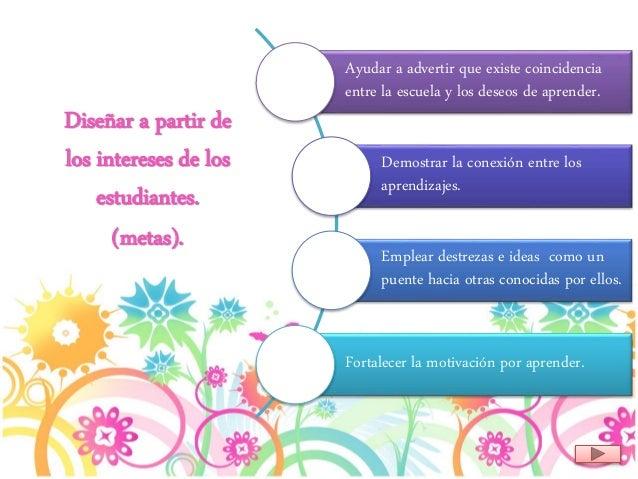 Diseñar a partir de los intereses de los estudiantes. (metas). Ayudar a advertir que existe coincidencia entre la escuela ...
