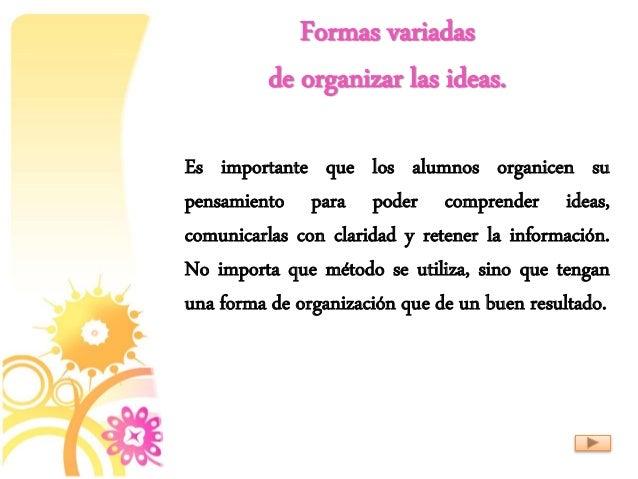 Formas variadas de organizar las ideas. Es importante que los alumnos organicen su pensamiento para poder comprender ideas...