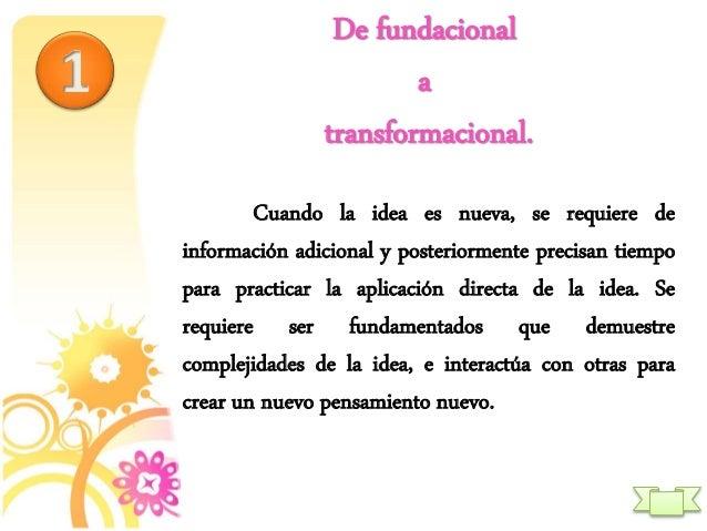 De fundacional a transformacional. Cuando la idea es nueva, se requiere de información adicional y posteriormente precisan...
