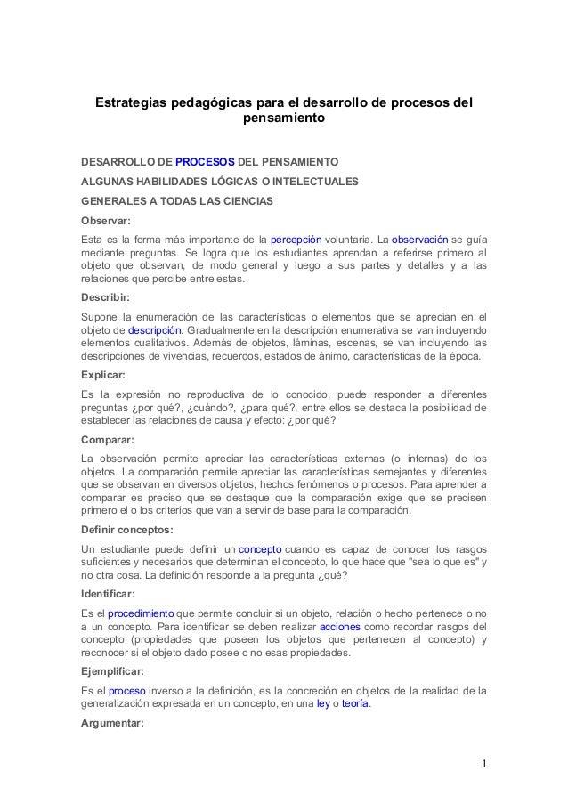 Estrategias pedagógicas para el desarrollo de procesos del pensamiento DESARROLLO DE PROCESOS DEL PENSAMIENTO ALGUNAS HABI...