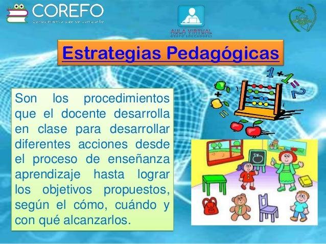 Estrategias Pedagógicas Son los procedimientos que el docente desarrolla en clase para desarrollar diferentes acciones des...