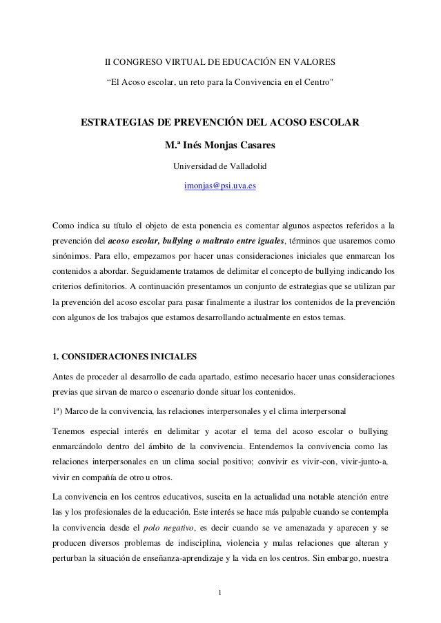 """II CONGRESO VIRTUAL DE EDUCACIÓN EN VALORES               """"El Acoso escolar, un reto para la Convivencia en el Centro""""    ..."""