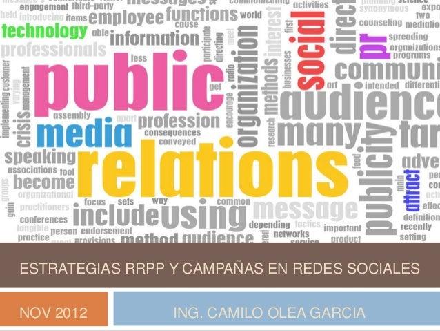 ESTRATEGIAS RRPP Y CAMPAÑAS EN REDES SOCIALESNOV 2012         ING. CAMILO OLEA GARCIA