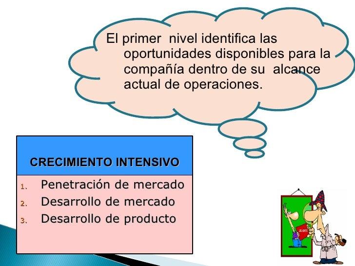El primer  nivel identifica las oportunidades disponibles para la compañía dentro de su  alcance actual de operaciones. CR...